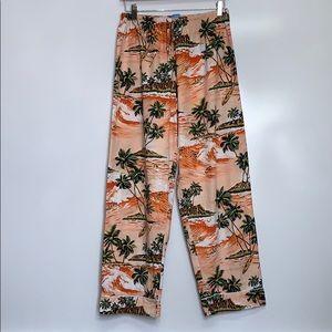 LUAU LOUNGE Hawaiian Palm Tree Ocean Vintage Pants